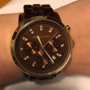 Gorgeous brown tortoise shell Michael Kors watch